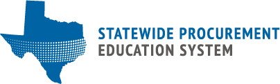 SPD EDU logo with blue state of texas outline with white dots