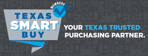 Texas SmartBuy Membership logo with gray background and tagline Your Texas Trusted Purchasing Partner