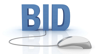 gray blue text of the word BID in capital letters with a white computer mouse and cord coming out of the letter i