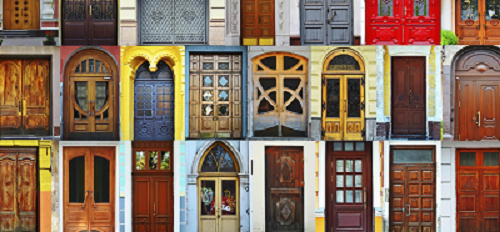 Front doors representing many nations in various shapes, materials and colors